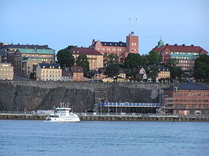 English: North-bound cliffs of Södermalm in St...