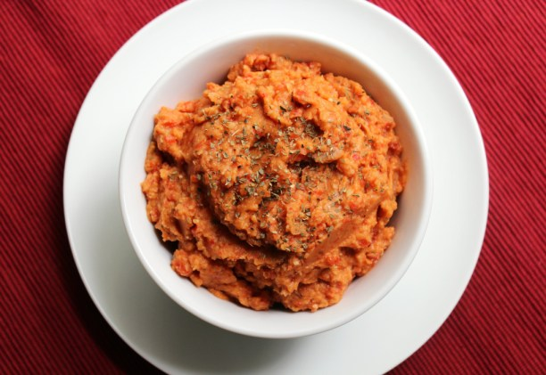 Balsamic Roasted Red Pepper Basil Hummus