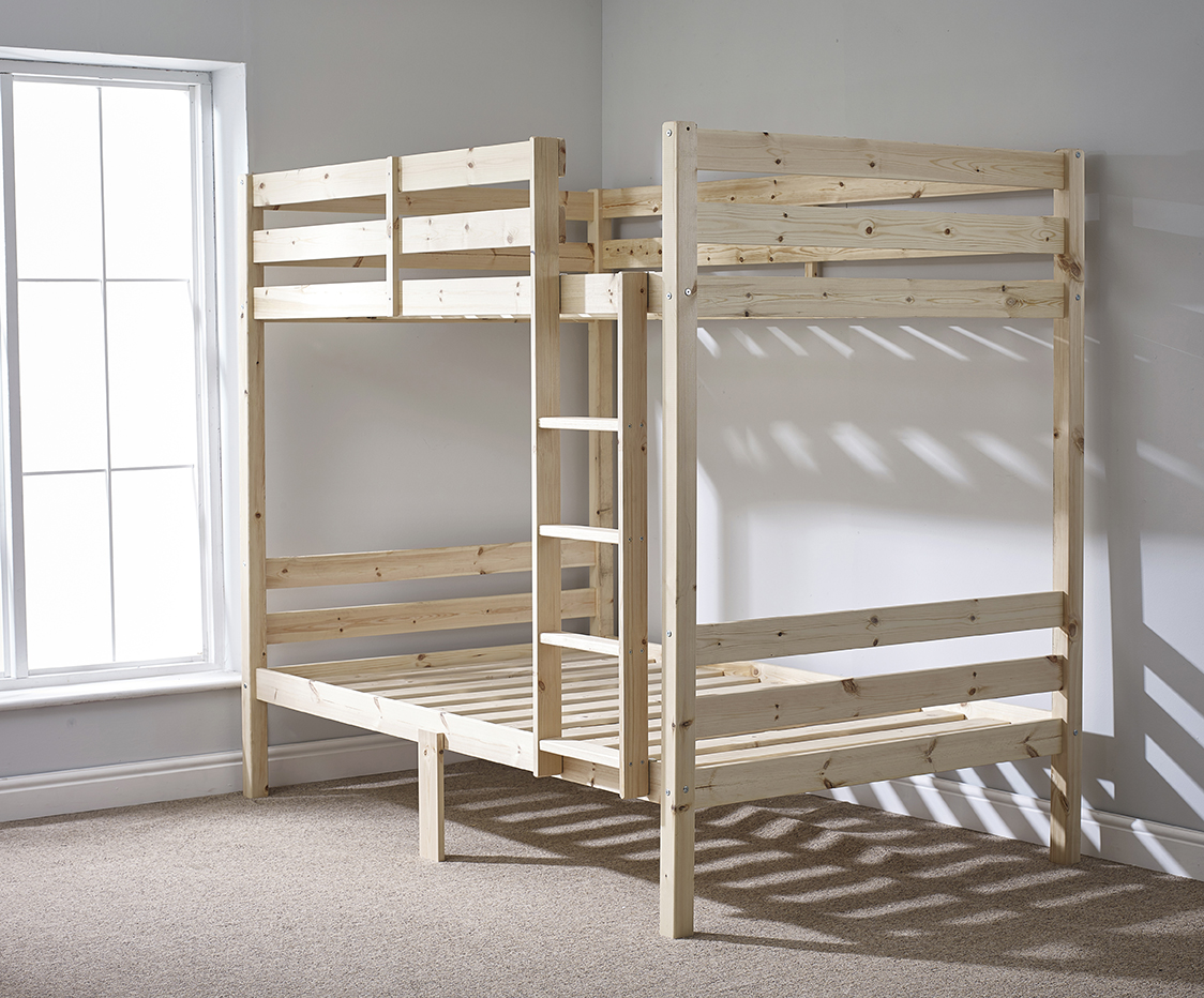 Double Bunk Beds Plato 4ft 6 Double Heavy Duty Solid Pine Bunk Bed