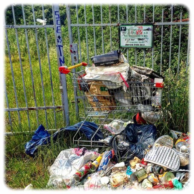 Die Müllberge an der Kiesgrube Dresden-Leuben künden von abendlichen Grillpartys. Foto. Heiko Weckbrodt