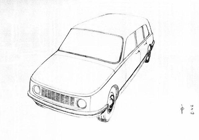 WARTBURG 353AWE, Eisenach, Skizze zum Gestaltungsgrundentwurf, Dietel 1962, Archiv Dietel