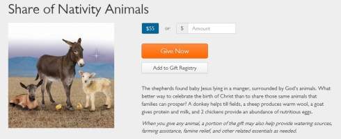 World Vision encourages donors to exploit animals in the name of Jesus.