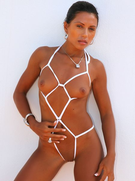 white see through bikini