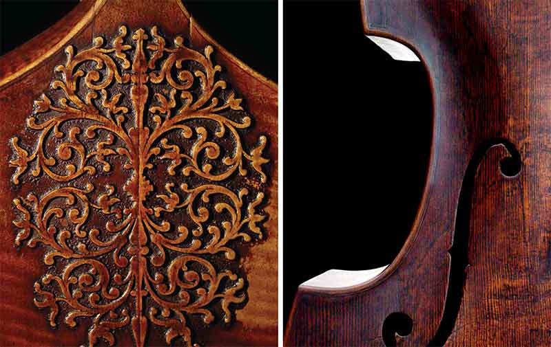 The back of a 1683 bass viol by Joachim Tielke, Hamburg (left) • 1750 Johann Georg Thir five-string violone • Head of a pardessus de viole (right)