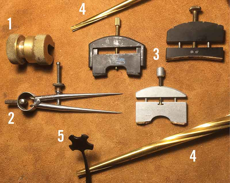 1. Bronze endbutton vise; 2. Starrett machinist's dividers; 3. Violin/viola string lifters; 4. Violin/viola spiral reamers; 5. Soundpost setter