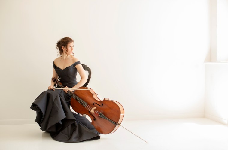Cellist Inbal Segev with her Francesco Ruggieri cello