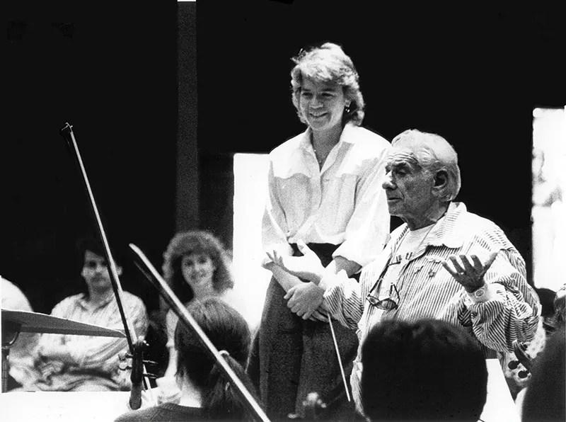 Marin Alsop with Leonard Bernstein