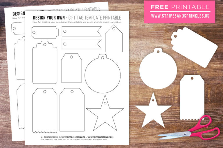 FREE Gift Tag Template Printable - Stripes  Sprinkles