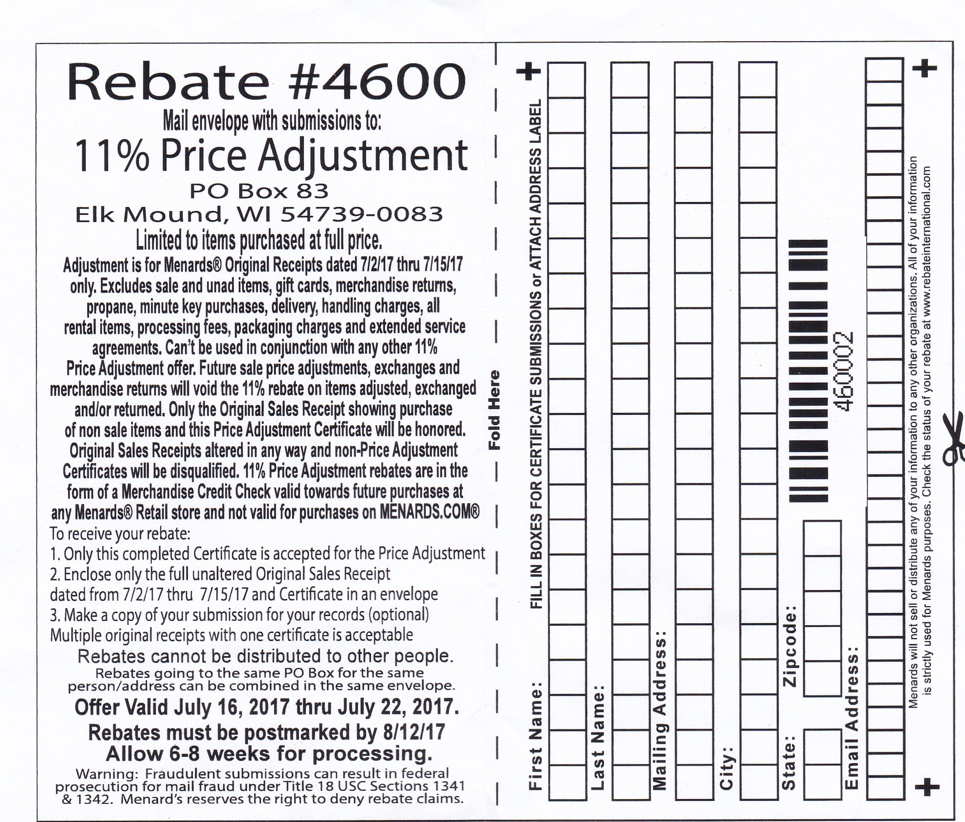 Menards 11% Price Adjustment Rebate - Struggleville