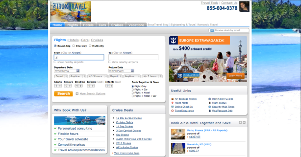 StruxTravel Agency homepage