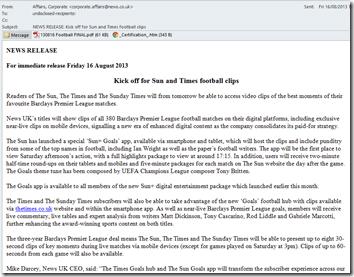 News UK spam news release