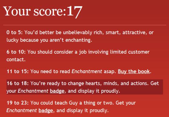 Stuart Bruce Enchantment quiz score
