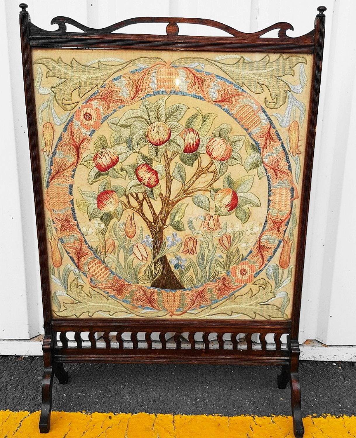 Fireplace Screens Tree Design William Morris Apple Tree Embroidery Firescreen C1880 In