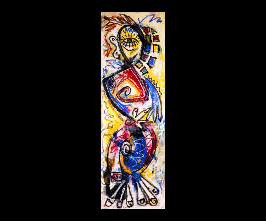 """Chess Piece: Bishop, 2015; Acrylic and oil on canvas. Size: 20"""" x 60"""""""