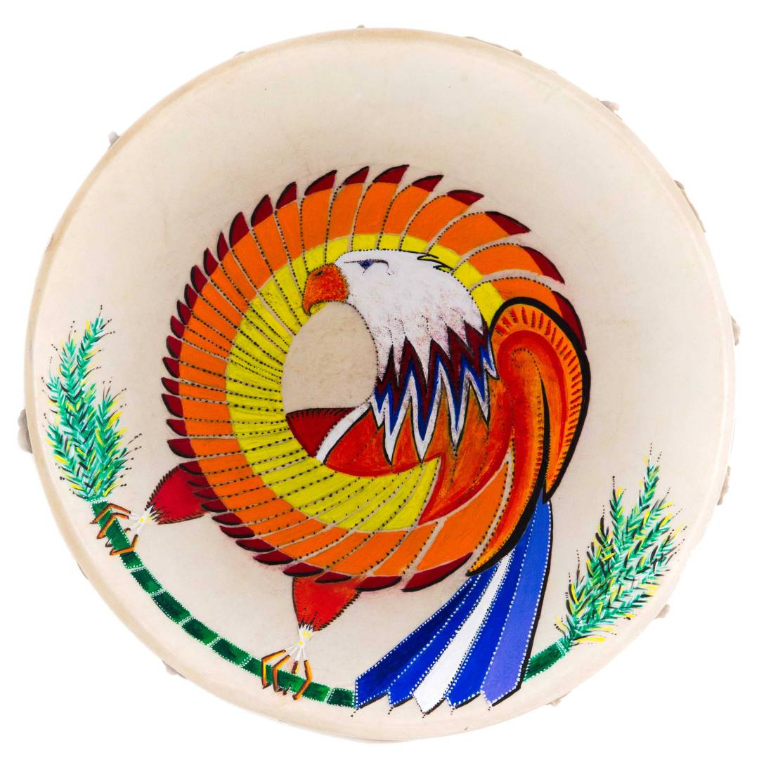 "Ritual Drum, acrylic on deerskin, 15"" diameter, 1991"