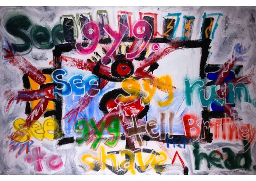 """gYg: does britney; Acrylic, oil and spray paint on canvas, 72"""" x 48"""", 2013"""