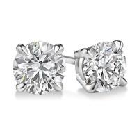 EGL USA Certified Round 1.08 CTW Diamond Stud Earrings in