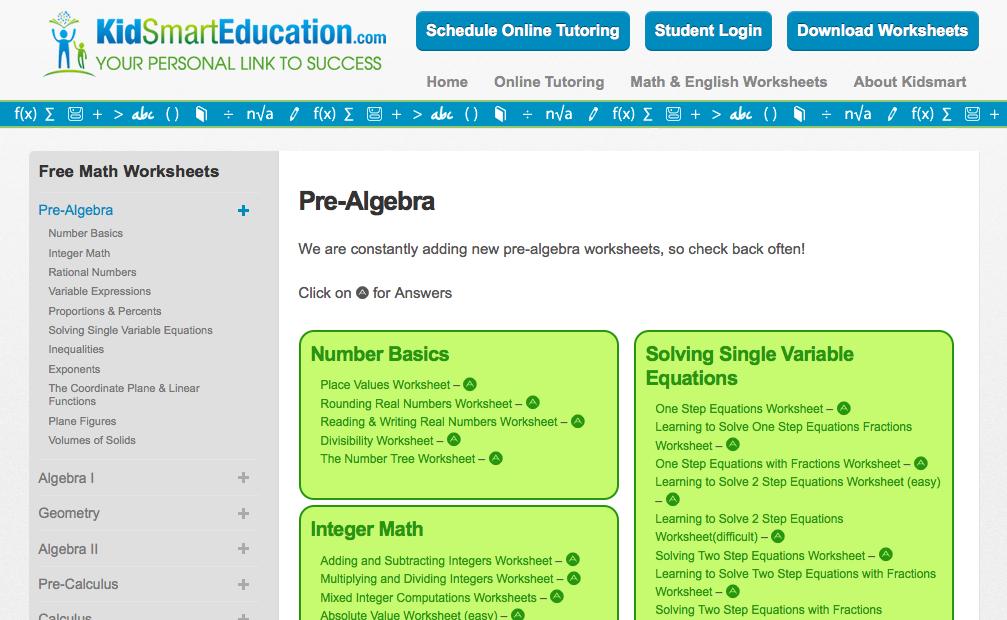 Top 10 Pre Algebra Worksheets Student Tutor Education Blog