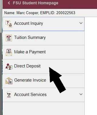 Direct Deposit Student Business Services