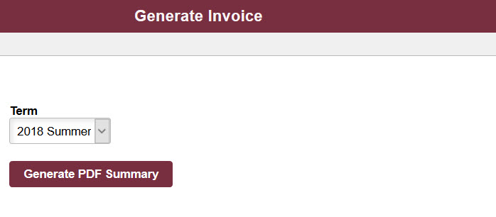 Generate Invoice Student Business Services