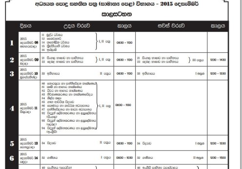o level time table 2015