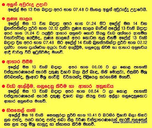 2018 Apa Litha >> Sri Lanakan New Year Nakath Litha Auspicious Times 2016   Student Sri Lanka Education