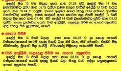Sinhala Hindu New Year Auspicious times 2016