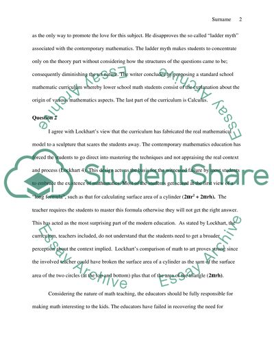 Math Essay Example Topics and Well Written Essays - 1000 words