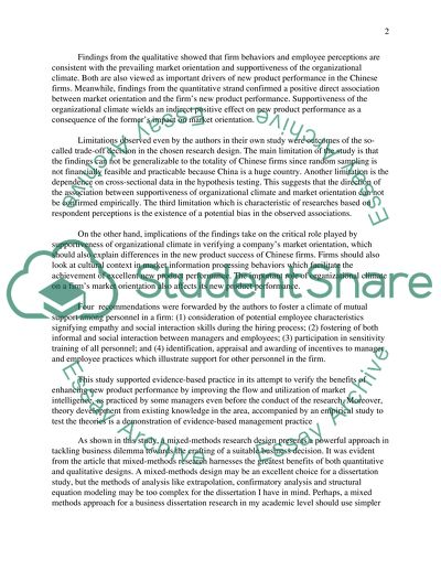 Locate a scholarly article describing an applied or mixed-methods Essay