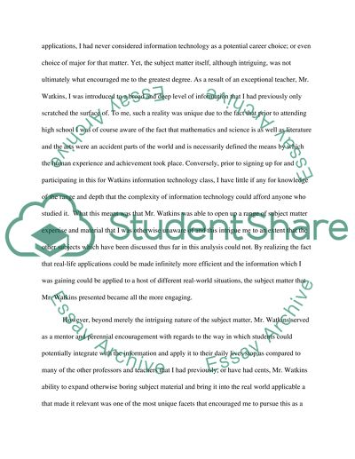 Networking Mr Watkins, Encouragement, and a Career Path Essay