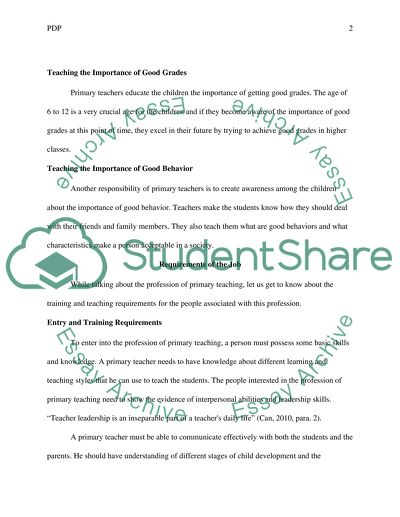 Personal Development Plan (PDP) Essay Example Topics and Well
