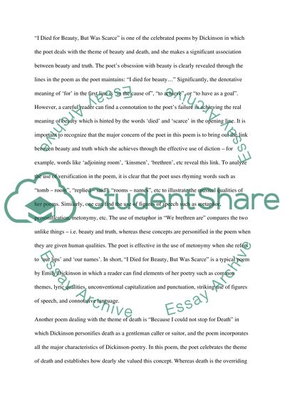 Died for Beauty Essay Example Topics and Well Written Essays - 750