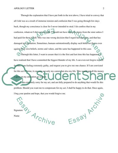 Apology Letter Essay Example Topics and Well Written Essays - 500