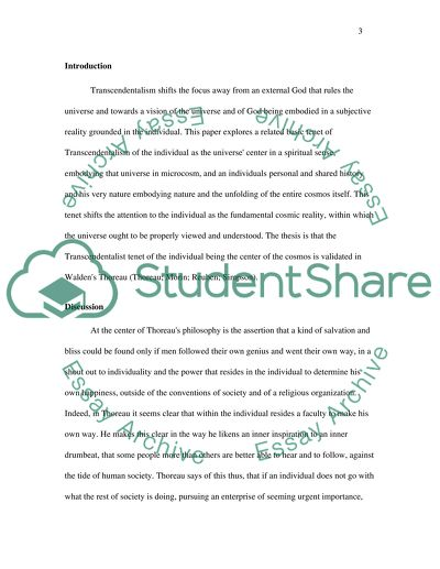 Transcendentalism Essay Example Topics and Well Written Essays