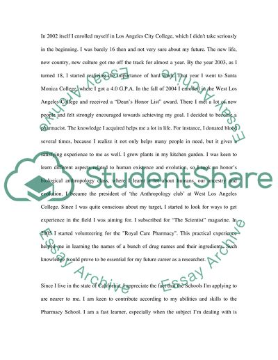 Pharmacy School Admission Essay Example Topics and Well Written