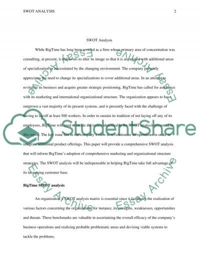 SWOT Analysis Essay Example Topics and Well Written Essays - 1500