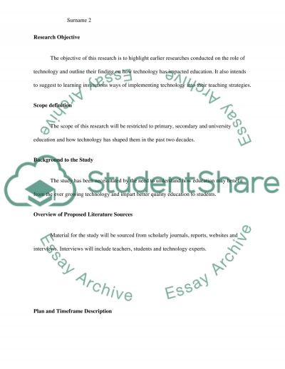 Role of Technology in Education Research Proposal