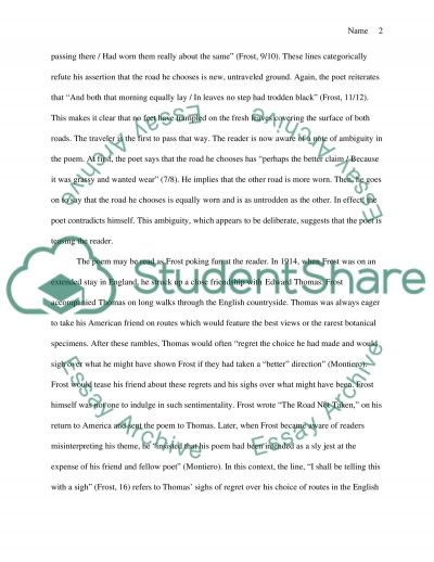 poetry analysis essay sample poem analysis the road not taken by