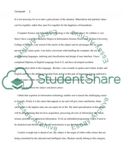 Purpose of study Personal Statement Example Topics and Well - computer science personal statement