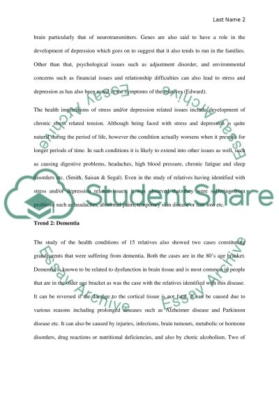 Family Health History paper Essay Example Topics and Well Written - complete health history example