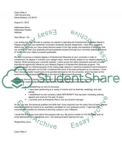 Letter of Intent for Masters Program @ Full Sail University Essay - letter of intent for university