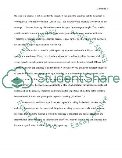 Informative speech How tones are important in public speaking Essay