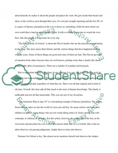 Literary journalism Essay Example Topics and Well Written Essays - essay examples in literature
