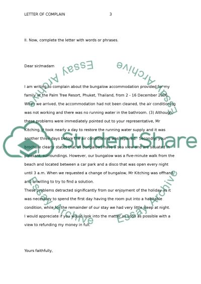 Letter of complaint Essay Example Topics and Well Written Essays