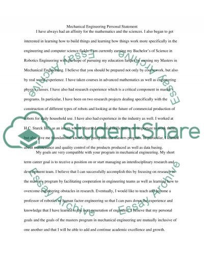 Mechanical Engineering Graduate School Personal Statement - 1 - computer science personal statement