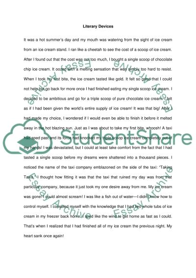 Short story using LITERARY DEVICES Essay Example Topics and Well - essay examples in literature