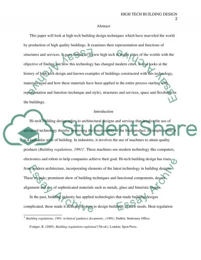 High tech building design Essay Example Topics and Well Written - history of computers essay