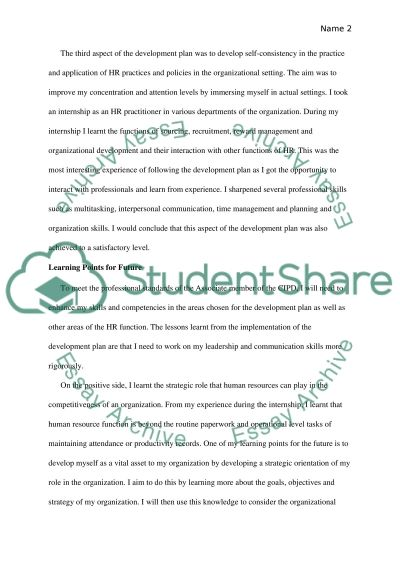 CIPD- PDP Essay Example Topics and Well Written Essays - 1250 words - pdp plan example