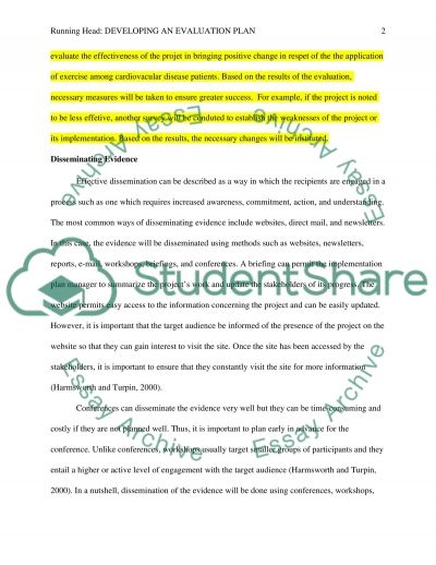 Developing an evaluation plan Essay Example Topics and Well - evaluation plan