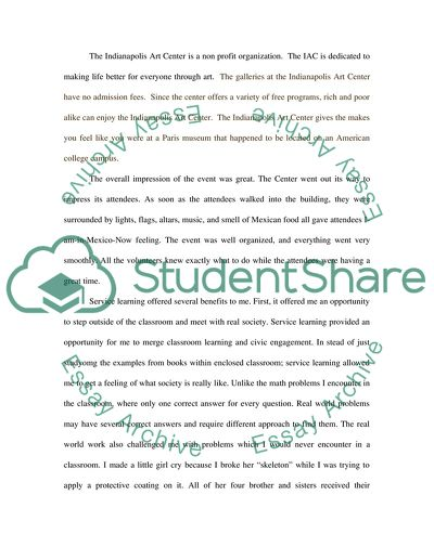 Reflection Paper on Community Service Learning Essay